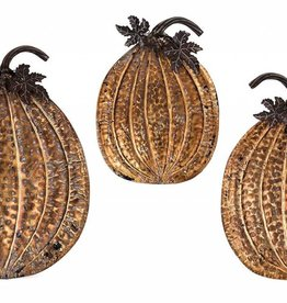 Harvest Metal Gold Leaf Pumpkin Trays - Set of 3