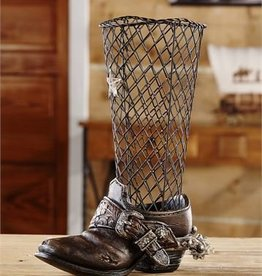 Polyresin & Iron Cowboy Boot Design Cork Holder