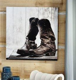 CowboyBootsPrintCanvasWallDecor