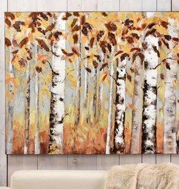 OilPaintCanvasWallDecor,BirchTrees