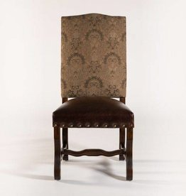 Monastery Side Chair in Fabric/Leather Combo