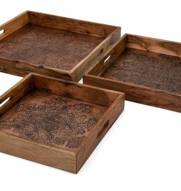 Cecilia Copper Embossed Decorative Trays - Set of 3