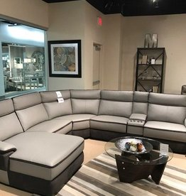 Two Tone Grey Leather Reclining Sectional