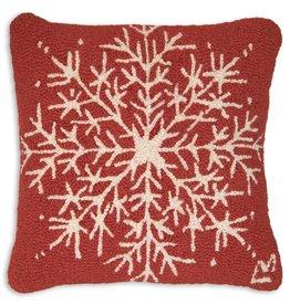 "Snowflake 18"" Hooked Pillow"