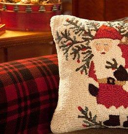 "Santa's Shrub Sack 18"" Hooked Pillow"