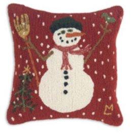 "Carrot Nose Snowman 18"" Hooked PIllow"