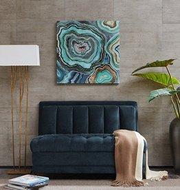 Aqua Agate Printed Canvas With Gel Coat