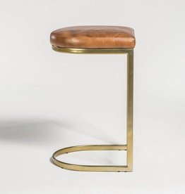 San Rafael Counter Stool in Tanned Umber and Antique Brass