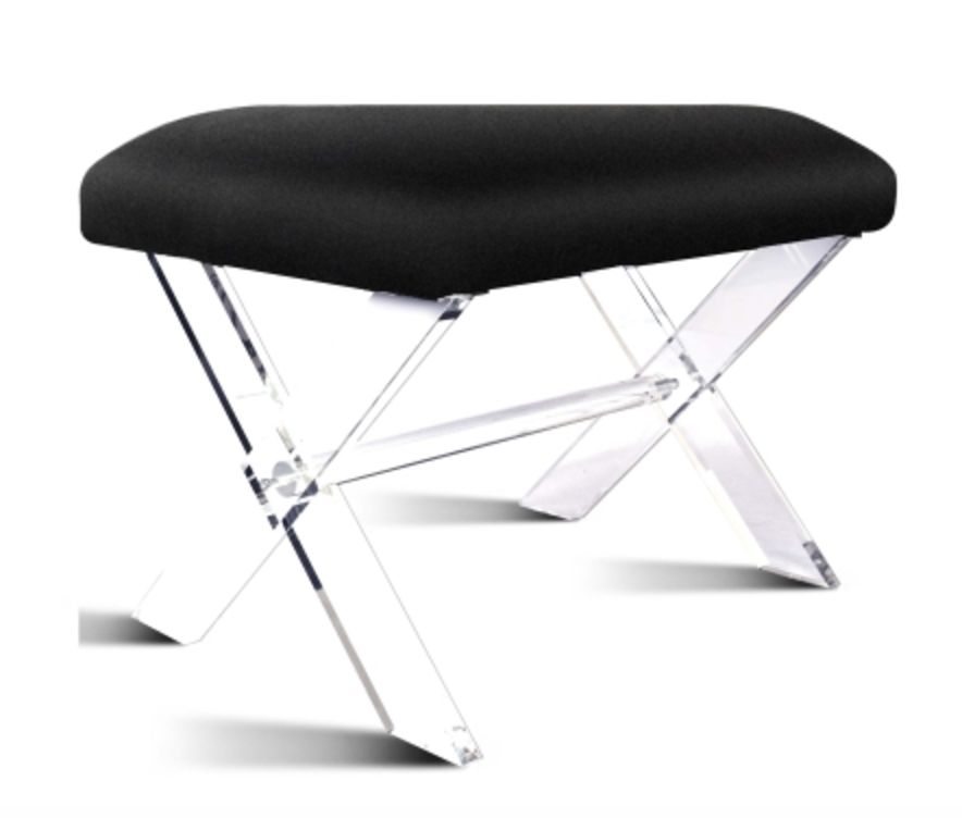 harlow kd faux fur stool acrylic base black beckman 39 s