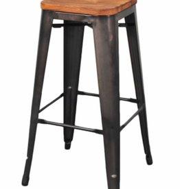 Metropolis Backless Bar Stool Wood Seat, Gunmetal
