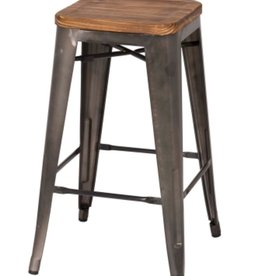 Metropolis Backless Counter Stool Wood Seat, Gunmetal