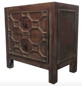 Silvestro Side Table 2 Drawers, Antique Brown