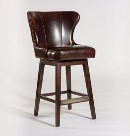Rockwell Swivel Bar Stool in Old Tannery and Dark Walnut