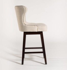 Rockwell Swivel Counter Stool in Cement Herringbone and Ebony