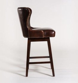Rockwell Swivel Counter Stool in Old Tannery and Dark Walnut