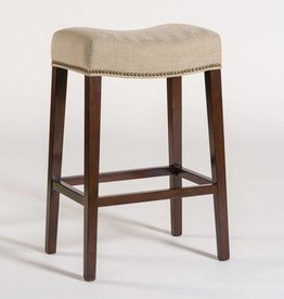 Saddle Bar Stool in Khaki Herringbone and Dark Walnut