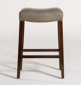 Saddle Bar Stool in London Fog and Dark Walnut