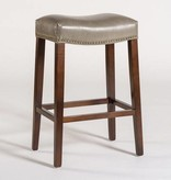 Saddle Counter Stool in London Fog and Dark Walnut