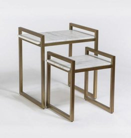 Santa Barbara Nesting Tables in Cloud Marble and Antique Brass, sold as a pair