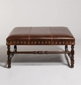 Santiago Ottoman in Antique Saddle and Dark Walnut