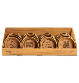 Wine Bottle Coaster, 4 Assorted