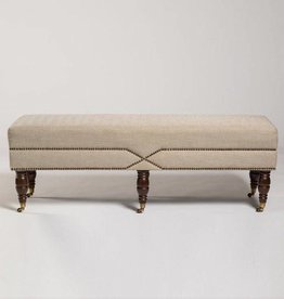 Stratford Bench in Khaki Herringbone and Rubbed Espresso
