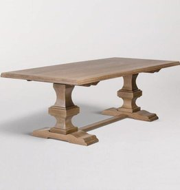 "Summerton 96"" Trestle Dining Table in Weathered Beechwood"