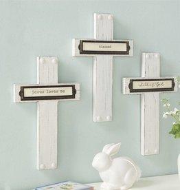 "Child Bookplate Wood Crosses ""Jesus Loves Me"""