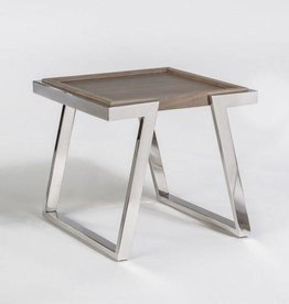 Austin End Table in Grey Haze and Polished Chrome