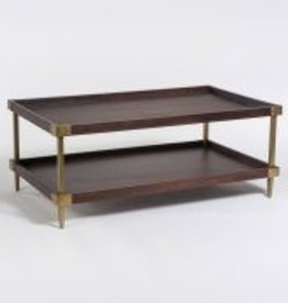 Avenue Coffee Table in Walnut and Antique Brass