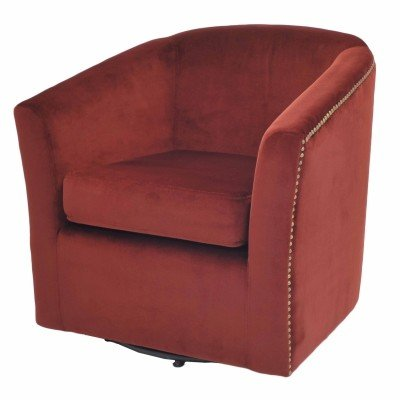 Ernest Fabric Swivel Chair, Cranberry