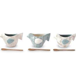 Bird Dip Cup Set, Floral Pattern