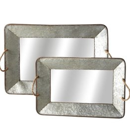 Galvanized Mirror Tray w/ Rope Handle S/2