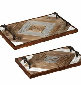 Geometric Slat Tray with Arrow Handles S/2