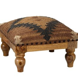 Tan & Navy Kilim Stool