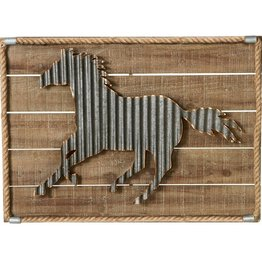 Large Corrugated Horse with Rope Border Wall Decor