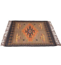 Tan & Black Pattern Kilim 2x3' Rug