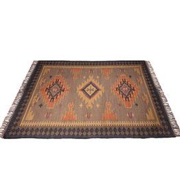 Tan & Black Pattern Kilim 4x6' Rug