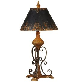 Distressed Black Scroll Table Lamp