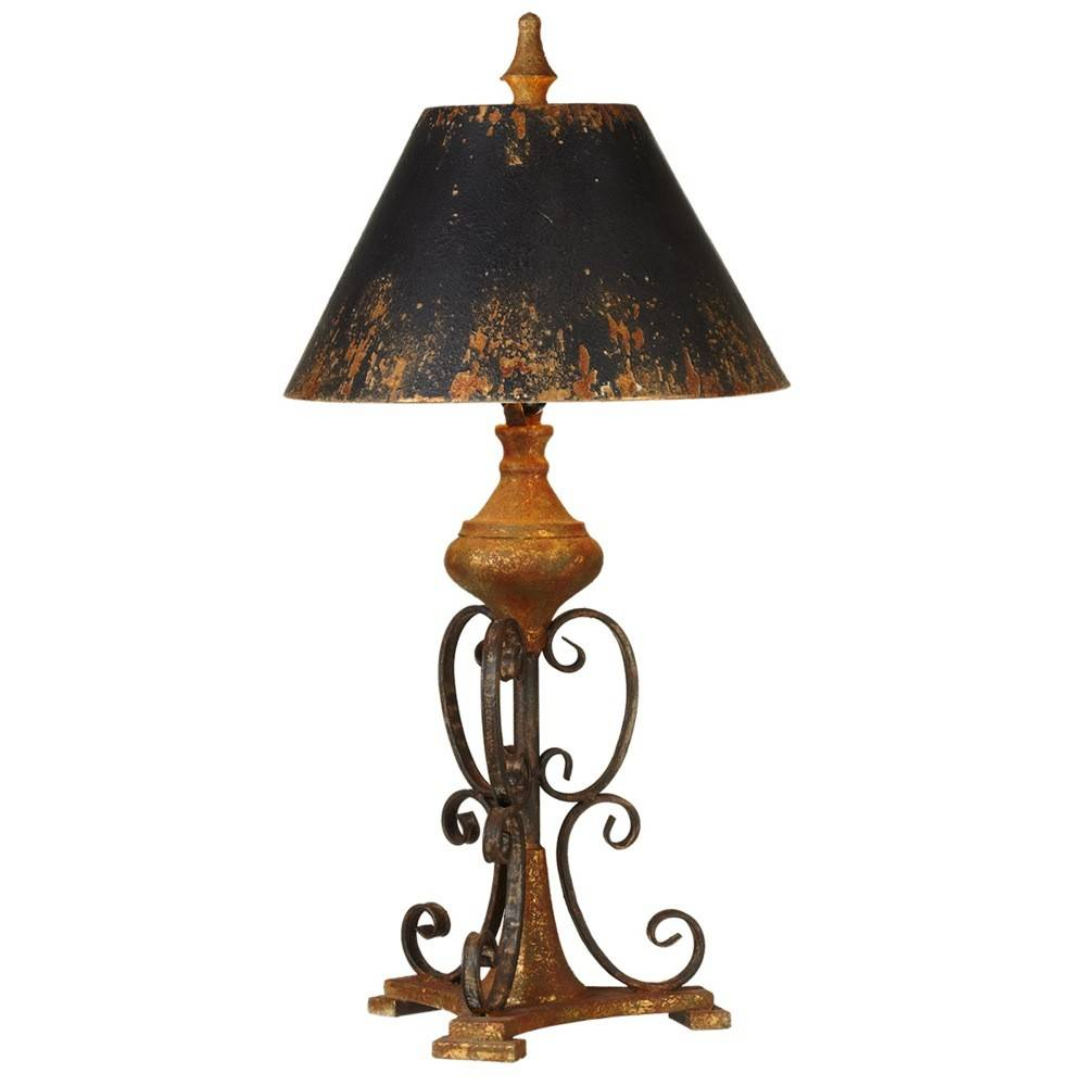 Distressed black scroll table lamp beckmans distressed black scroll table lamp aloadofball Images