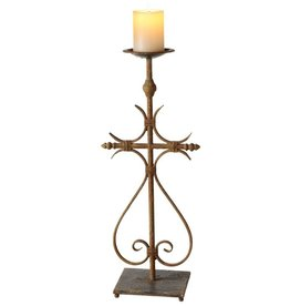 Small Scroll Cross Pillar Holder