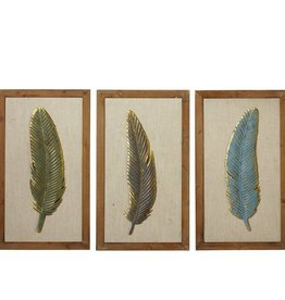 Framed Feather with Gold Accent Wall Decor (3 asst)