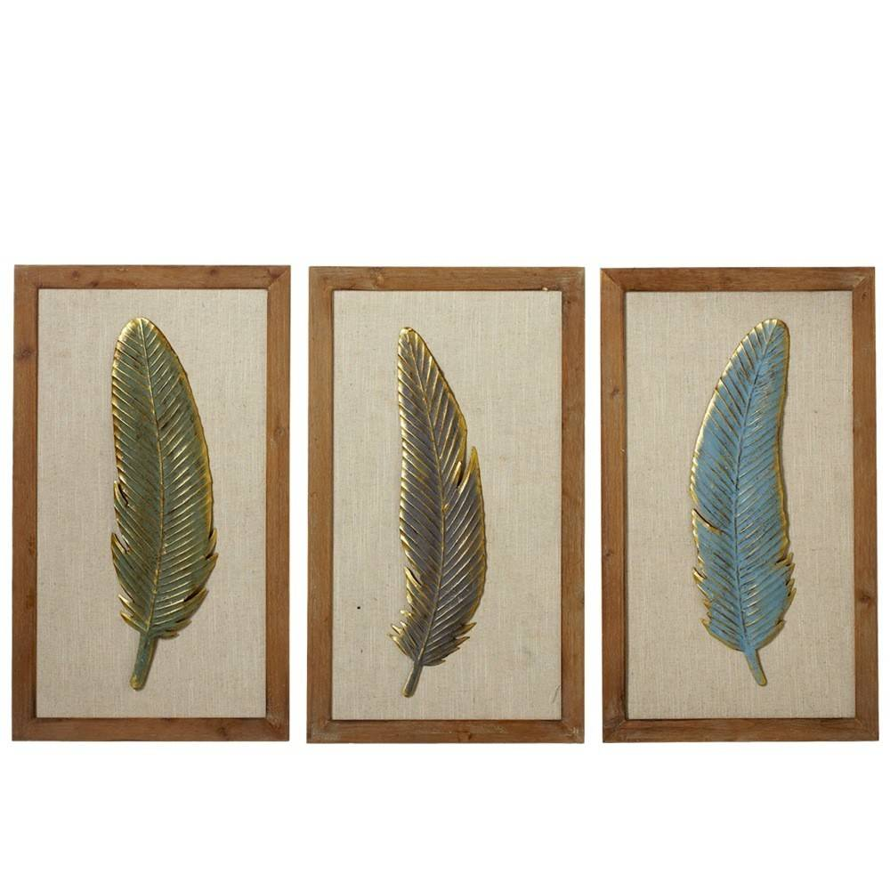 Framed Feather with Gold Accent Wall Decor (3 asst) - Beckman's