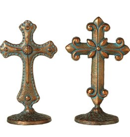 Short Patina Cross on Stand (2 asst)