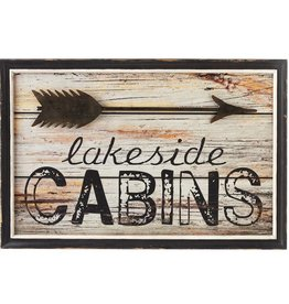 "Framed ""Lakeside Cabins"" with Arrow Wall Art"