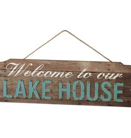 """Welcome To Our Lake House"" Wall Decor with Rope Hanger"