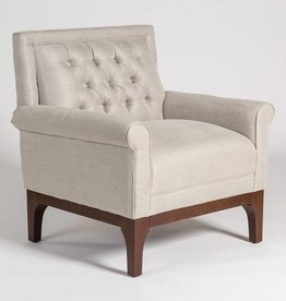 Baker Occasional Chair in Essex Platinum and Dark Walnut