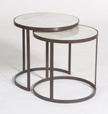 Beverley Nesting Tables in Siena Marble and Matte Charcoal - Sold as a Pair