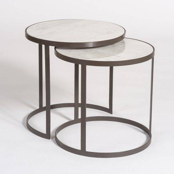 beverley nesting tables in siena marble and matte