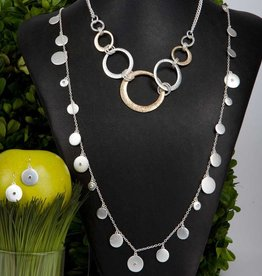 Silver Disc Necklace and Earring Set